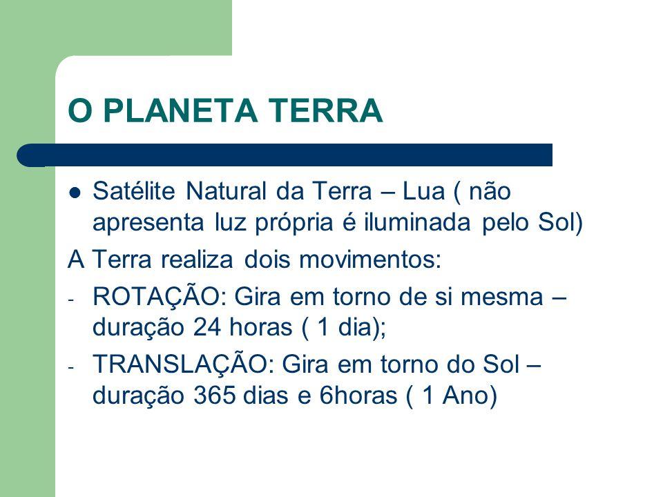 O PLANETA TERRA Satélite Natural da Terra – Lua ( não apresenta luz própria é iluminada pelo Sol) A Terra realiza dois movimentos: