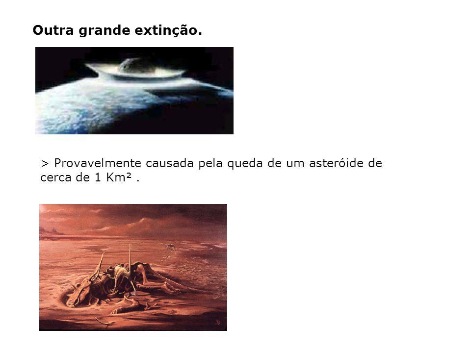 Outra grande extinção. > Provavelmente causada pela queda de um asteróide de cerca de 1 Km² .