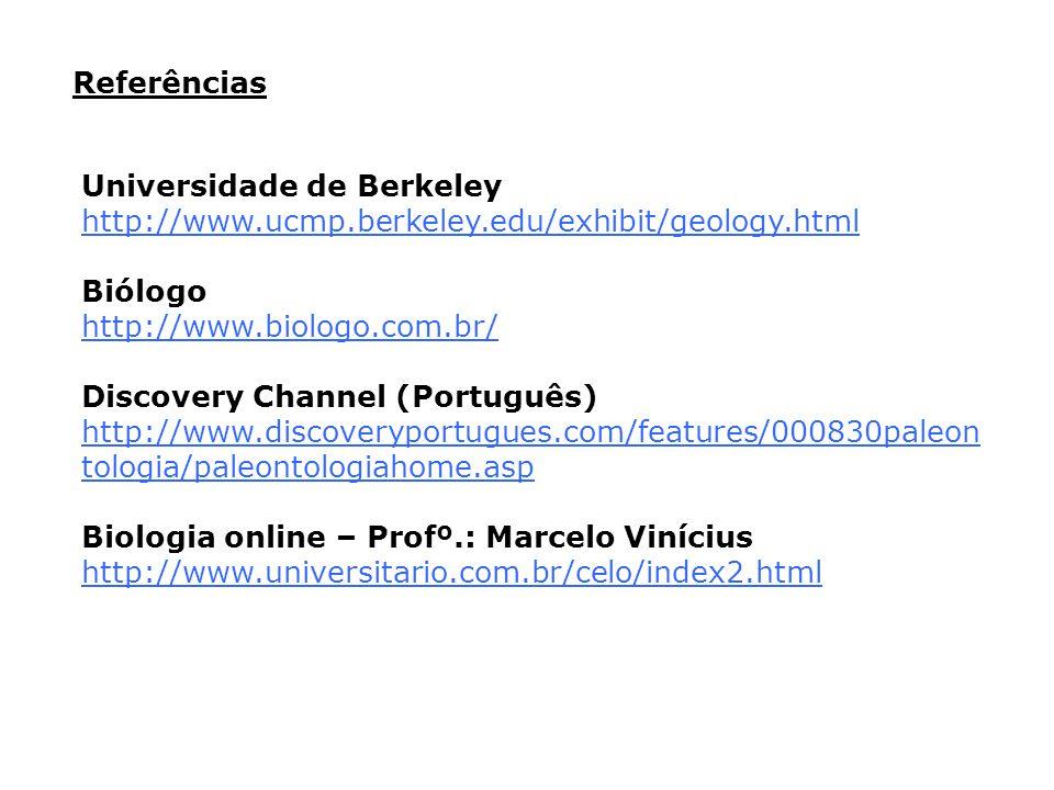 Referências Universidade de Berkeley. http://www.ucmp.berkeley.edu/exhibit/geology.html. Biólogo.