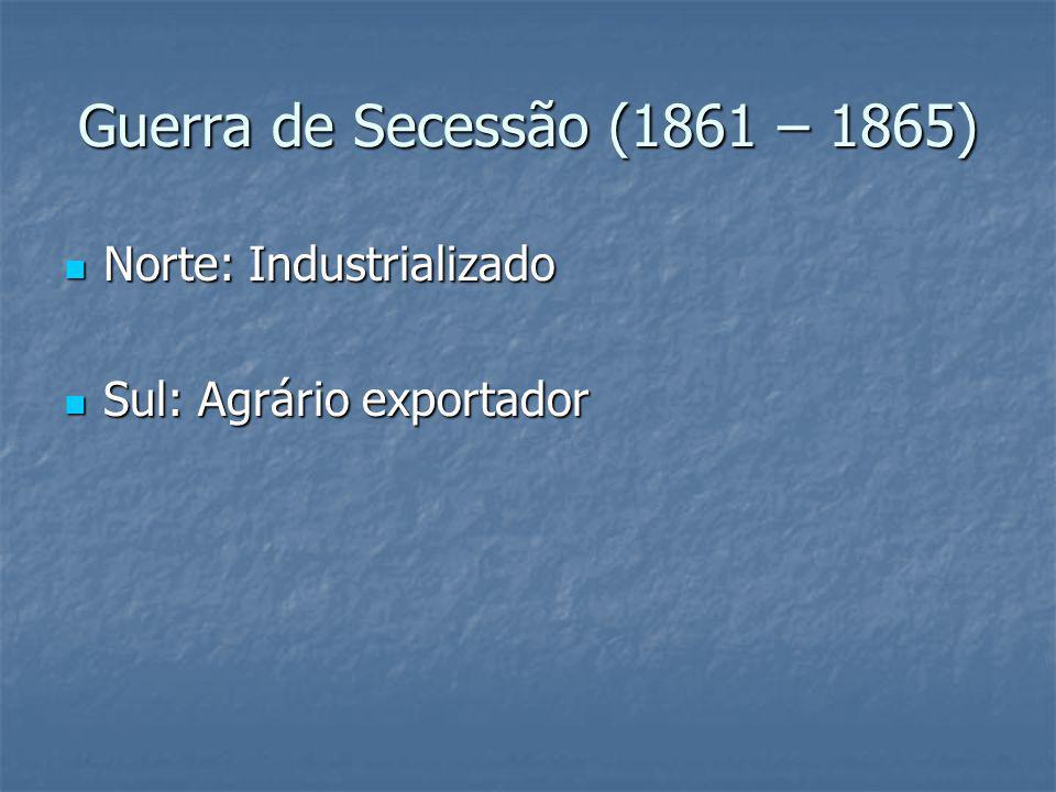 Guerra de Secessão (1861 – 1865) Norte: Industrializado