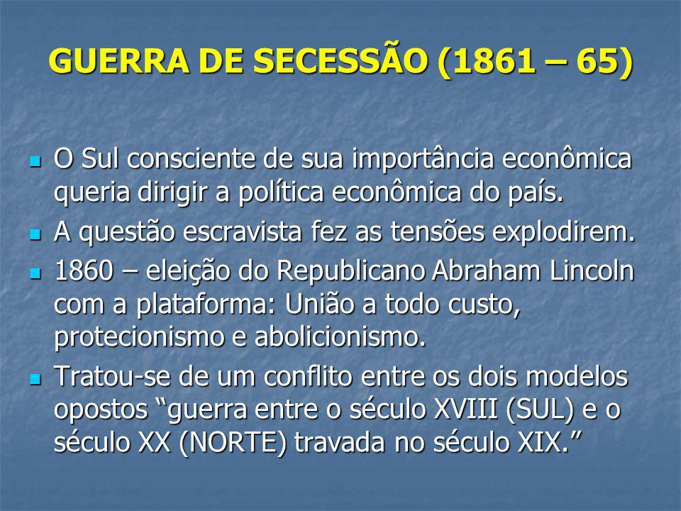 GUERRA DE SECESSÃO (1861 – 65) O Sul consciente de sua importância econômica queria dirigir a política econômica do país.