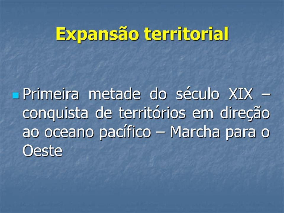 Expansão territorial Primeira metade do século XIX – conquista de territórios em direção ao oceano pacífico – Marcha para o Oeste.