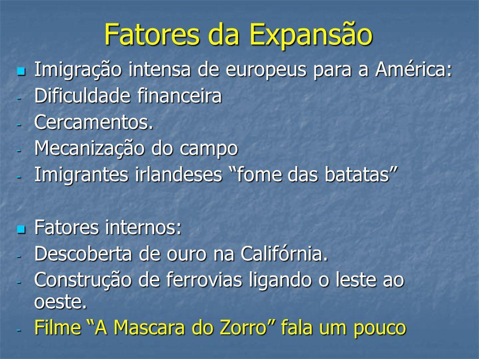 Fatores da Expansão Imigração intensa de europeus para a América: