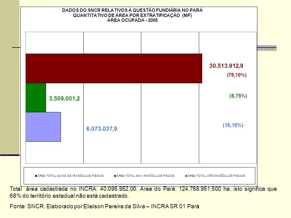 Total área cadastrada no INCRA: 40.095.952,00. Área do Pará: 124.768.951,500 ha, isto significa que 68% do território estadual não está cadastrado.