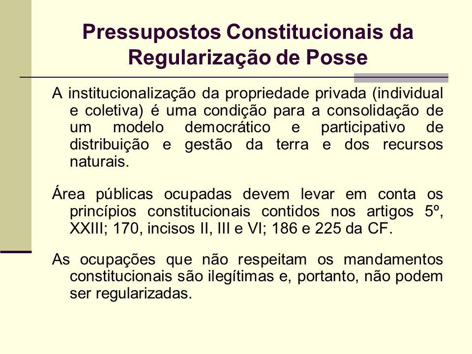 Pressupostos Constitucionais da Regularização de Posse