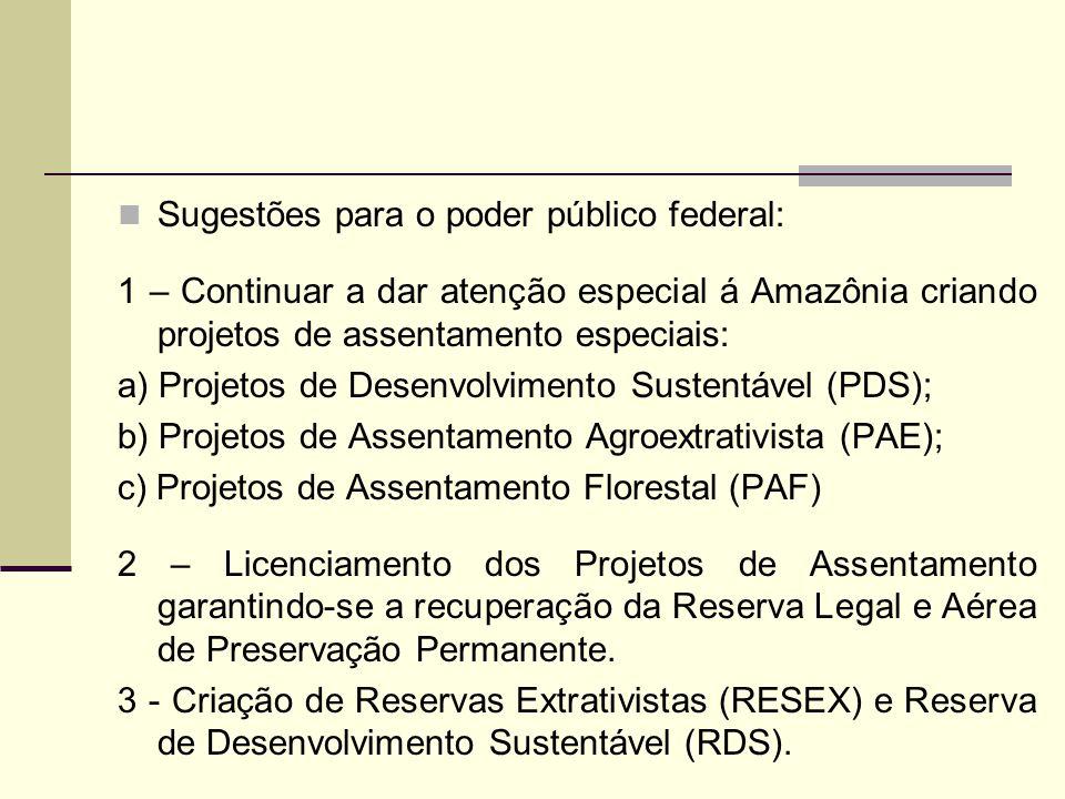 Sugestões para o poder público federal: