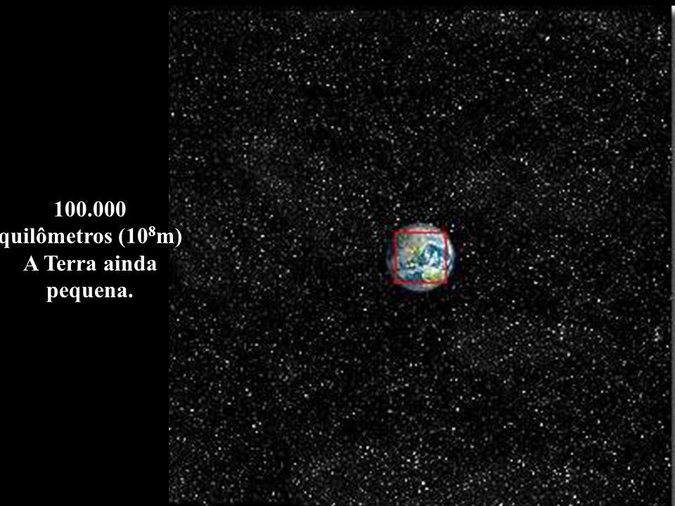 100.000 quilômetros (108m) A Terra ainda pequena.