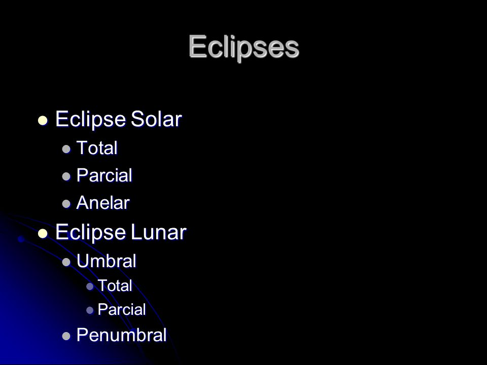Eclipses Eclipse Solar Eclipse Lunar Total Parcial Anelar Umbral
