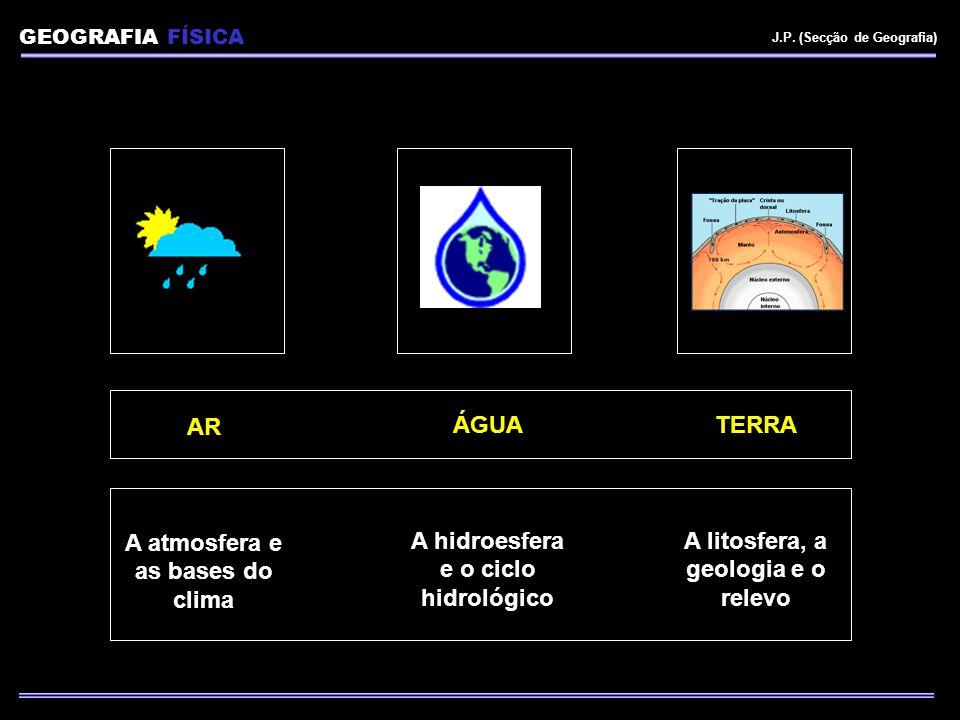 A atmosfera e as bases do clima A litosfera, a geologia e o relevo