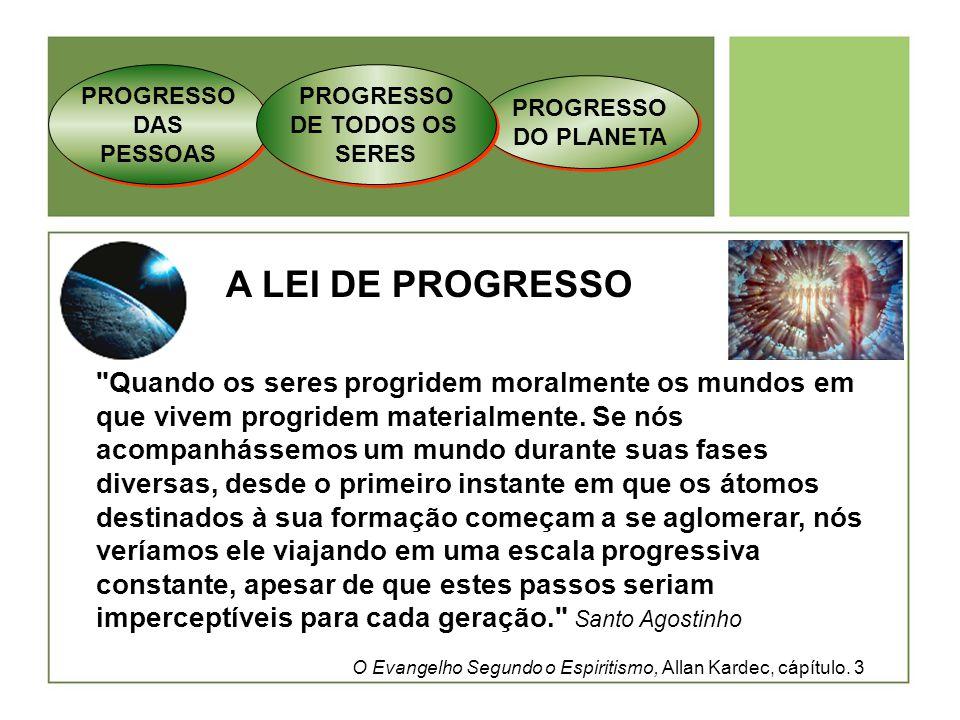 PROGRESSO DAS PESSOAS PROGRESSO. DE TODOS OS. SERES. PROGRESSO DO PLANETA. A LEI DE PROGRESSO.