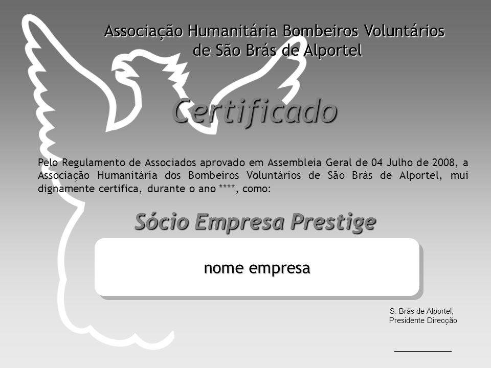 Certificado Associação Humanitária Bombeiros Voluntários