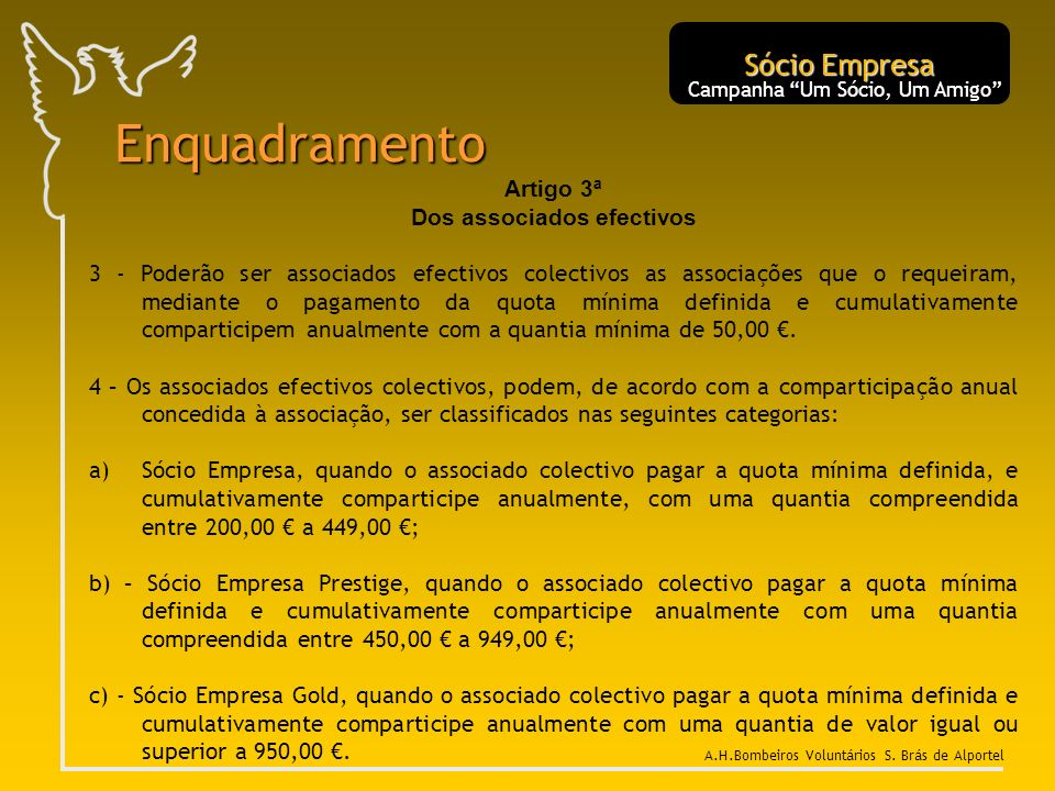 Enquadramento Sócio Empresa Artigo 3ª Dos associados efectivos