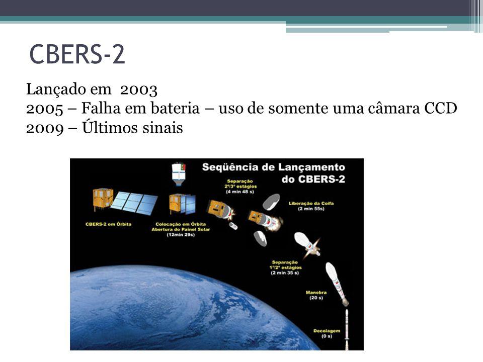 CBERS-2 Lançado em 2003. 2005 – Falha em bateria – uso de somente uma câmara CCD.