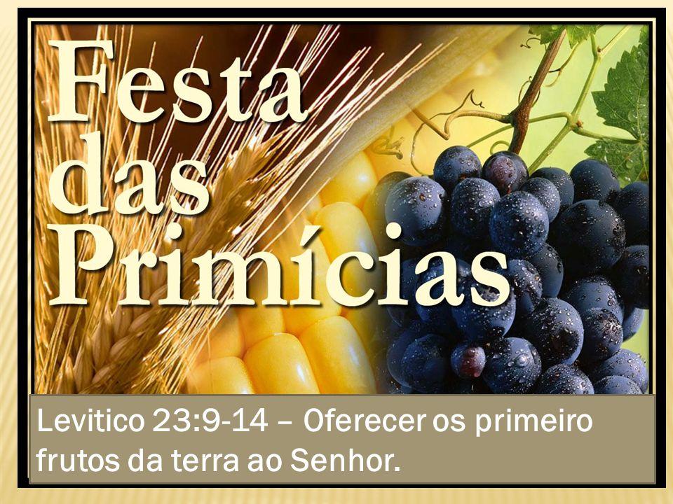 Levitico 23:9-14 – Oferecer os primeiro frutos da terra ao Senhor.