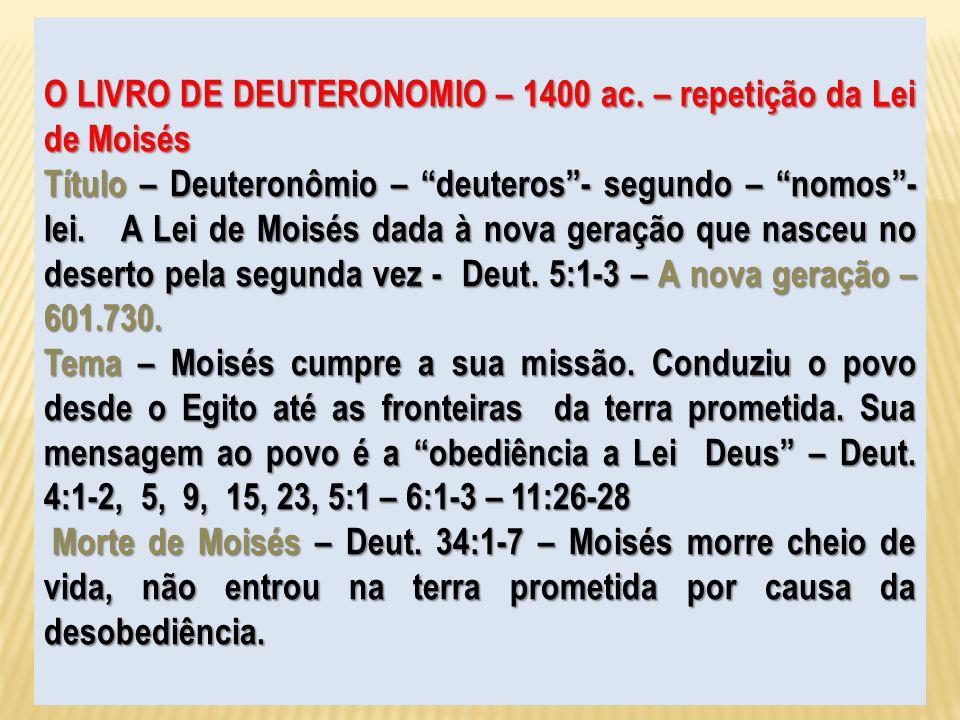O LIVRO DE DEUTERONOMIO – 1400 ac. – repetição da Lei de Moisés
