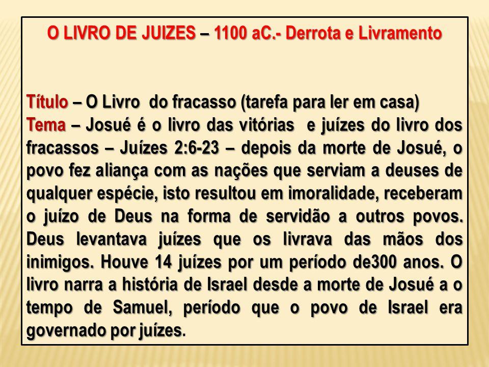 O LIVRO DE JUIZES – 1100 aC.- Derrota e Livramento