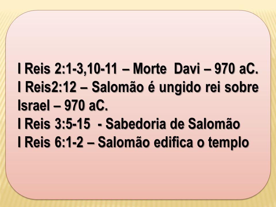 I Reis 2:1-3,10-11 – Morte Davi – 970 aC.