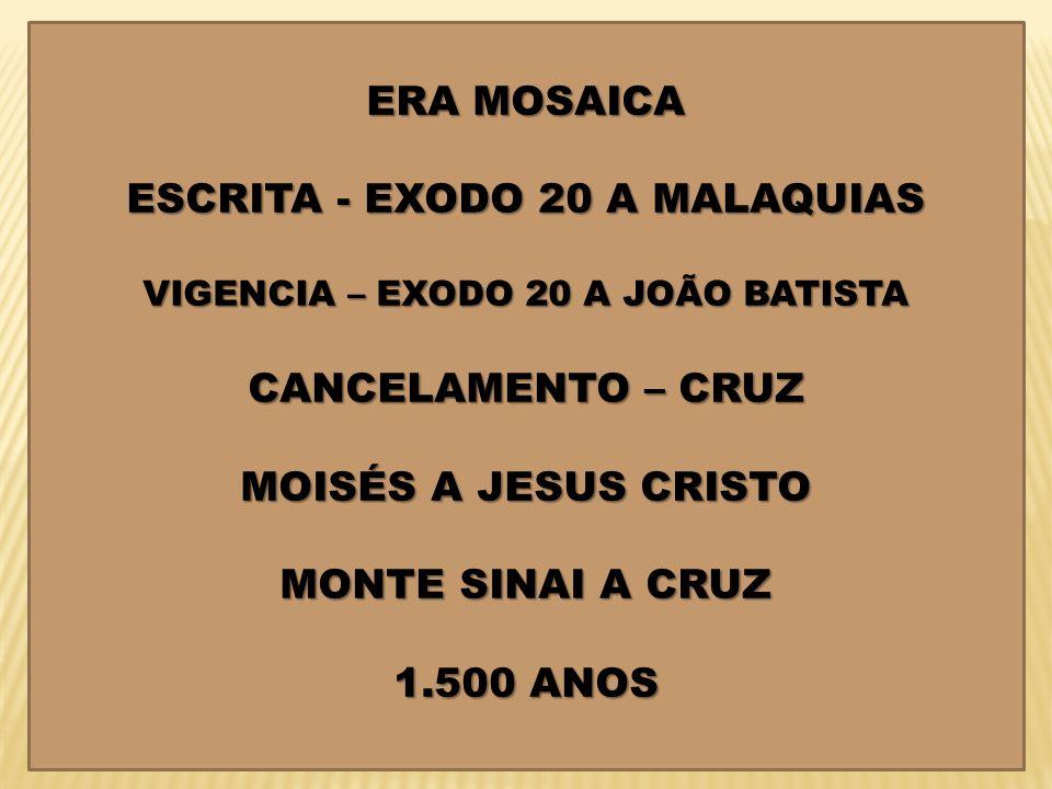 ESCRITA - EXODO 20 A MALAQUIAS VIGENCIA – EXODO 20 A JOÃO BATISTA
