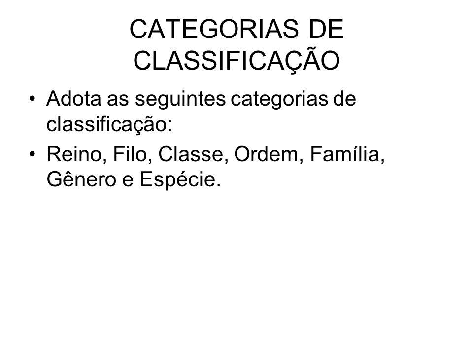 CATEGORIAS DE CLASSIFICAÇÃO