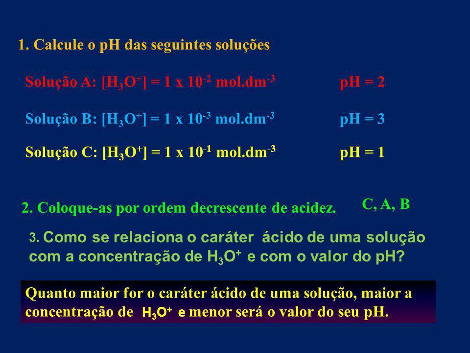 1. Calcule o pH das seguintes soluções