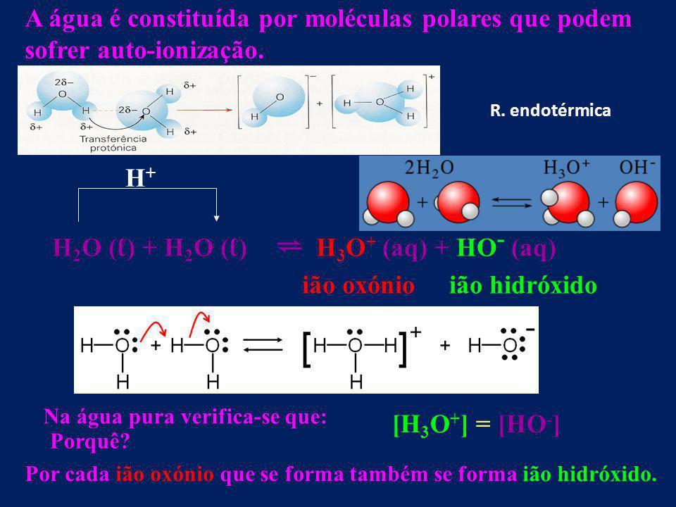 H2O (ℓ) + H2O (ℓ) ⇌ H3O+ (aq) + HO- (aq) ião oxónio ião hidróxido H+