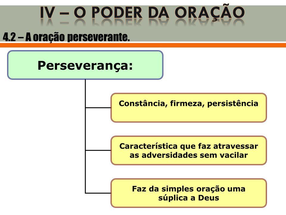IV – O poder da oração 4.2 – A oração perseverante.