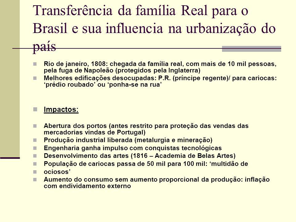 Transferência da família Real para o Brasil e sua influencia na urbanização do país