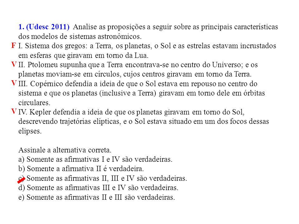 1. (Udesc 2011) Analise as proposições a seguir sobre as principais características dos modelos de sistemas astronômicos.