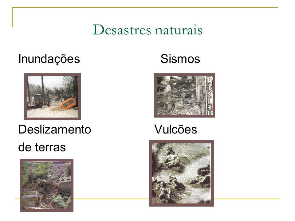 Desastres naturais Inundações Sismos. Deslizamento Vulcões.