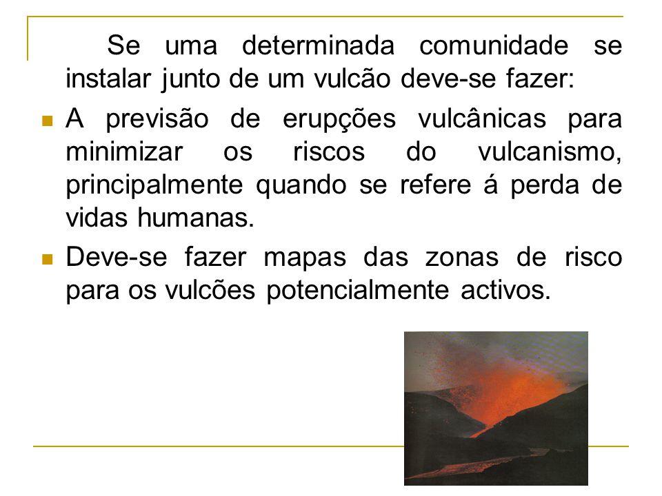 Se uma determinada comunidade se instalar junto de um vulcão deve-se fazer: