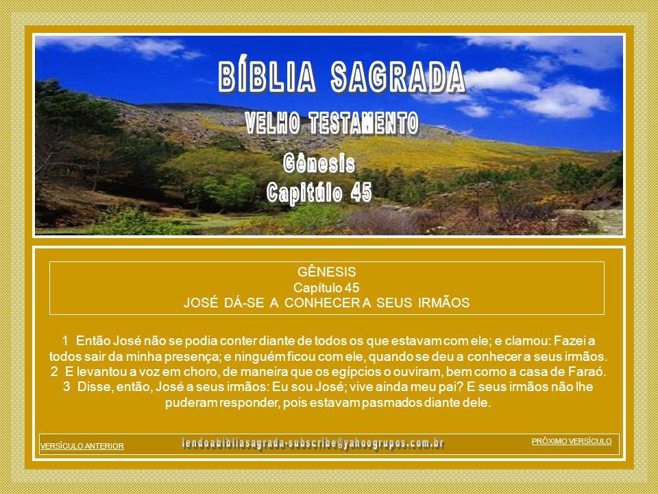 GÊNESIS Capítulo 45 JOSÉ DÁ-SE A CONHECER A SEUS IRMÃOS
