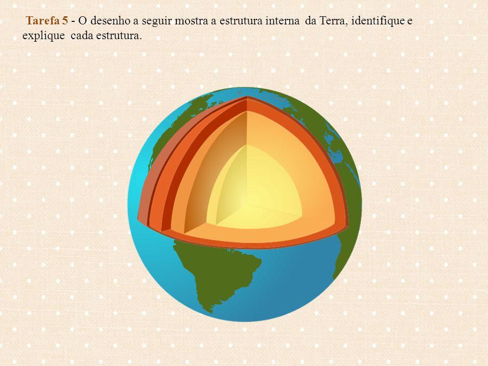 Tarefa 5 - O desenho a seguir mostra a estrutura interna da Terra, identifique e explique cada estrutura.