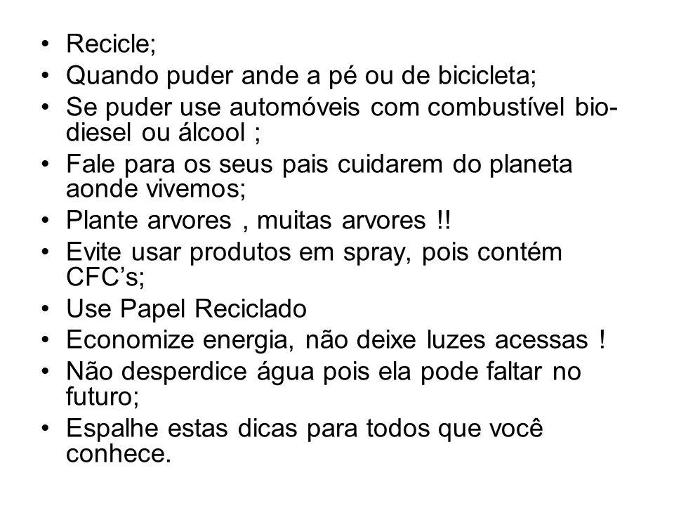 Recicle; Quando puder ande a pé ou de bicicleta; Se puder use automóveis com combustível bio-diesel ou álcool ;