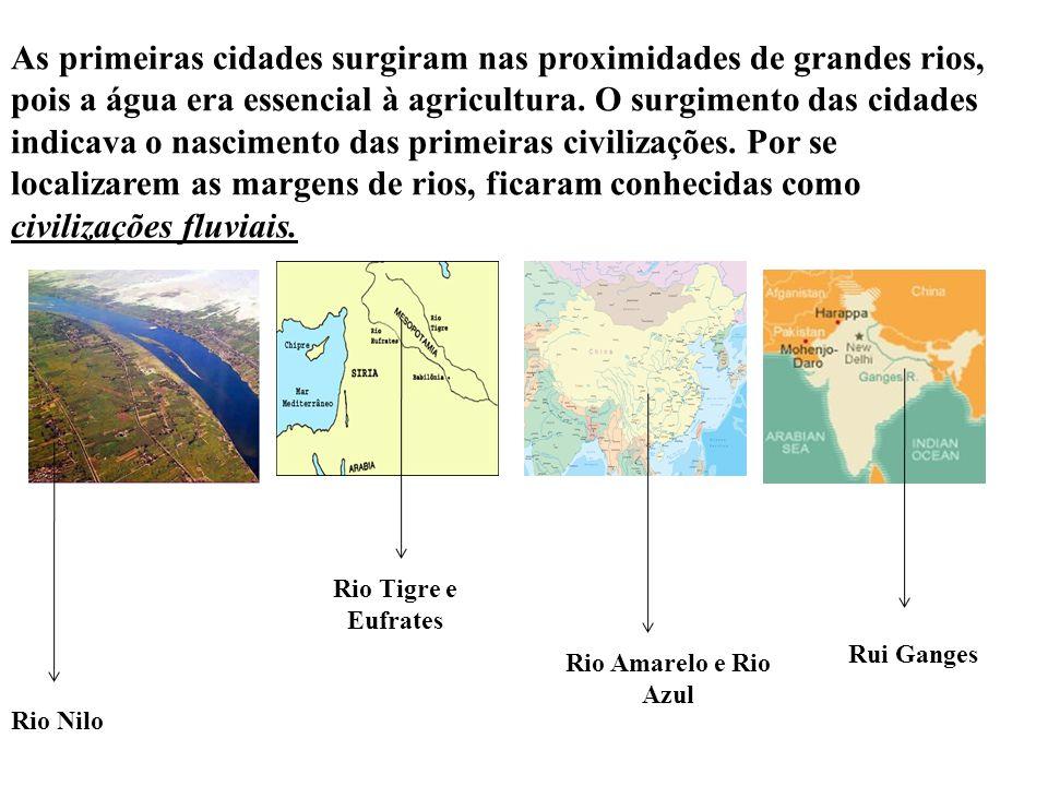 As primeiras cidades surgiram nas proximidades de grandes rios, pois a água era essencial à agricultura. O surgimento das cidades indicava o nascimento das primeiras civilizações. Por se localizarem as margens de rios, ficaram conhecidas como civilizações fluviais.