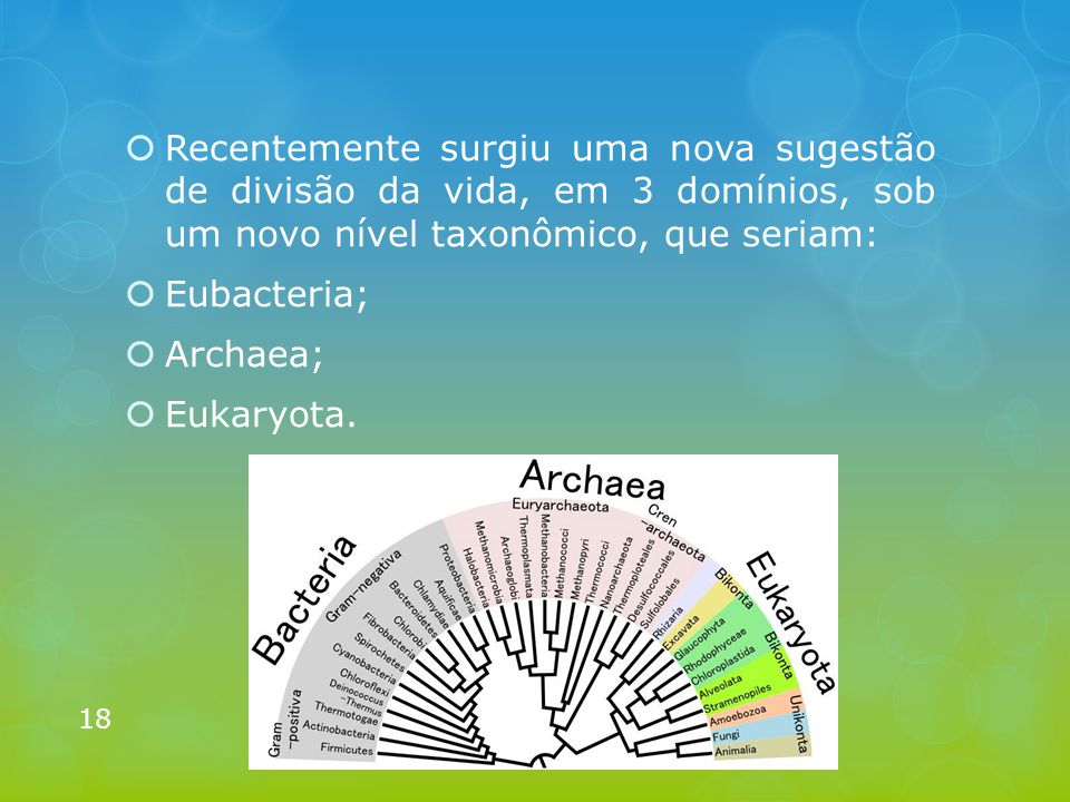 Recentemente surgiu uma nova sugestão de divisão da vida, em 3 domínios, sob um novo nível taxonômico, que seriam: