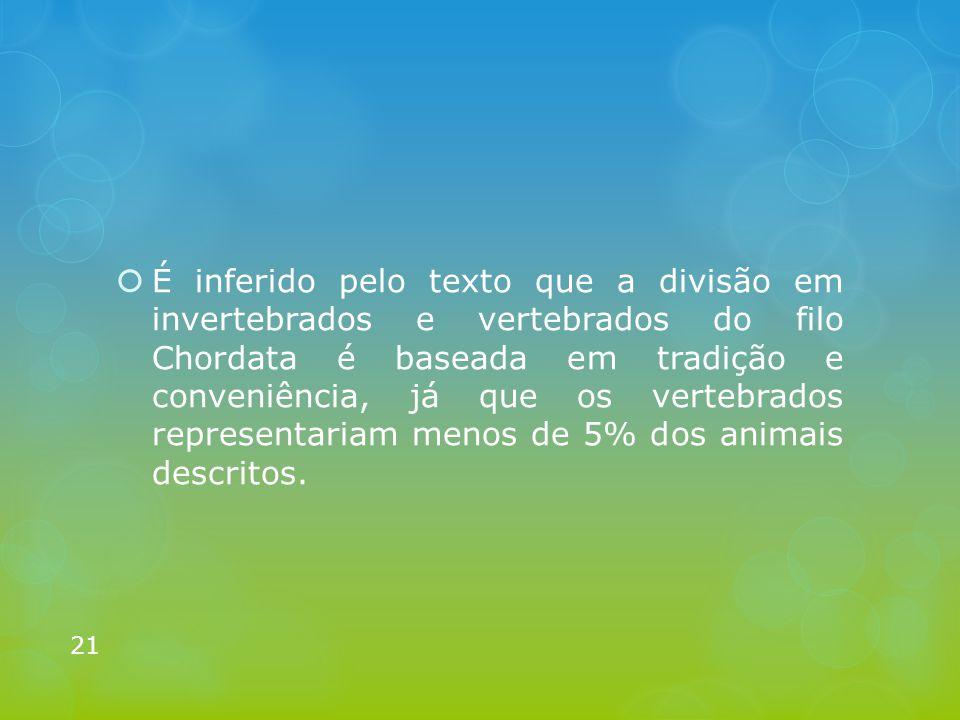 É inferido pelo texto que a divisão em invertebrados e vertebrados do filo Chordata é baseada em tradição e conveniência, já que os vertebrados representariam menos de 5% dos animais descritos.