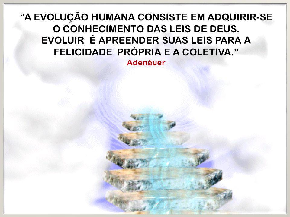 A EVOLUÇÃO HUMANA CONSISTE EM ADQUIRIR-SE O CONHECIMENTO DAS LEIS DE DEUS. EVOLUIR É APREENDER SUAS LEIS PARA A FELICIDADE PRÓPRIA E A COLETIVA.