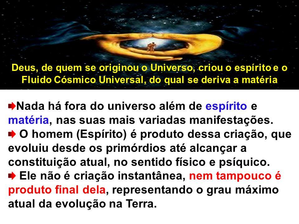 Deus, de quem se originou o Universo, criou o espírito e o Fluido Cósmico Universal, do qual se deriva a matéria