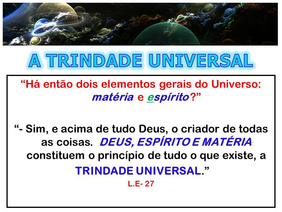 Há então dois elementos gerais do Universo: matéria e espírito
