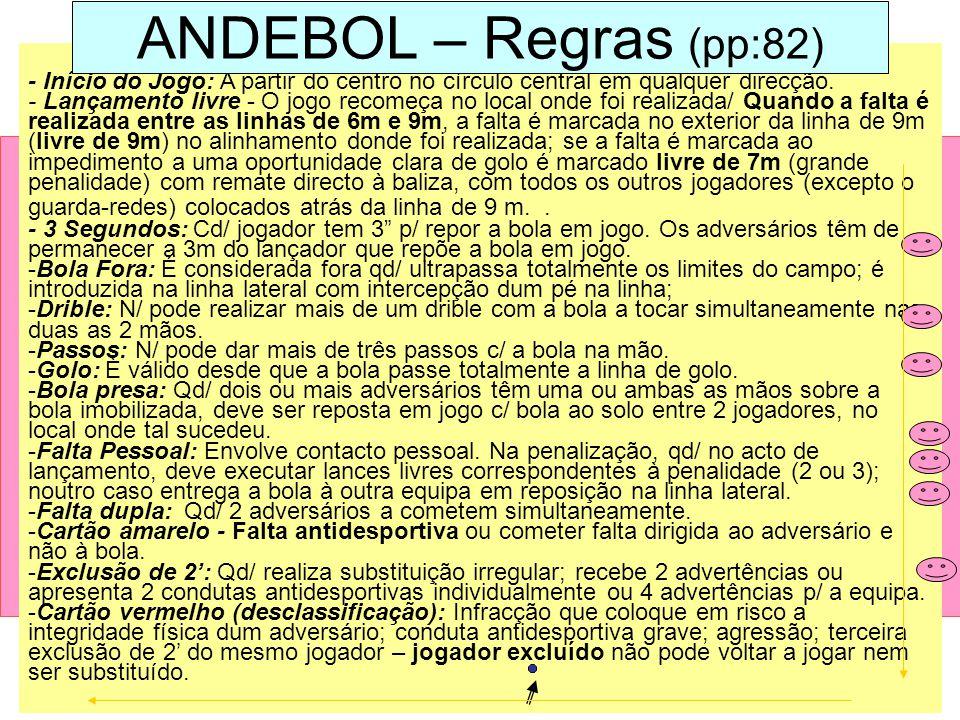 ANDEBOL – Regras (pp:82) - Início do Jogo: A partir do centro no círculo central em qualquer direcção.