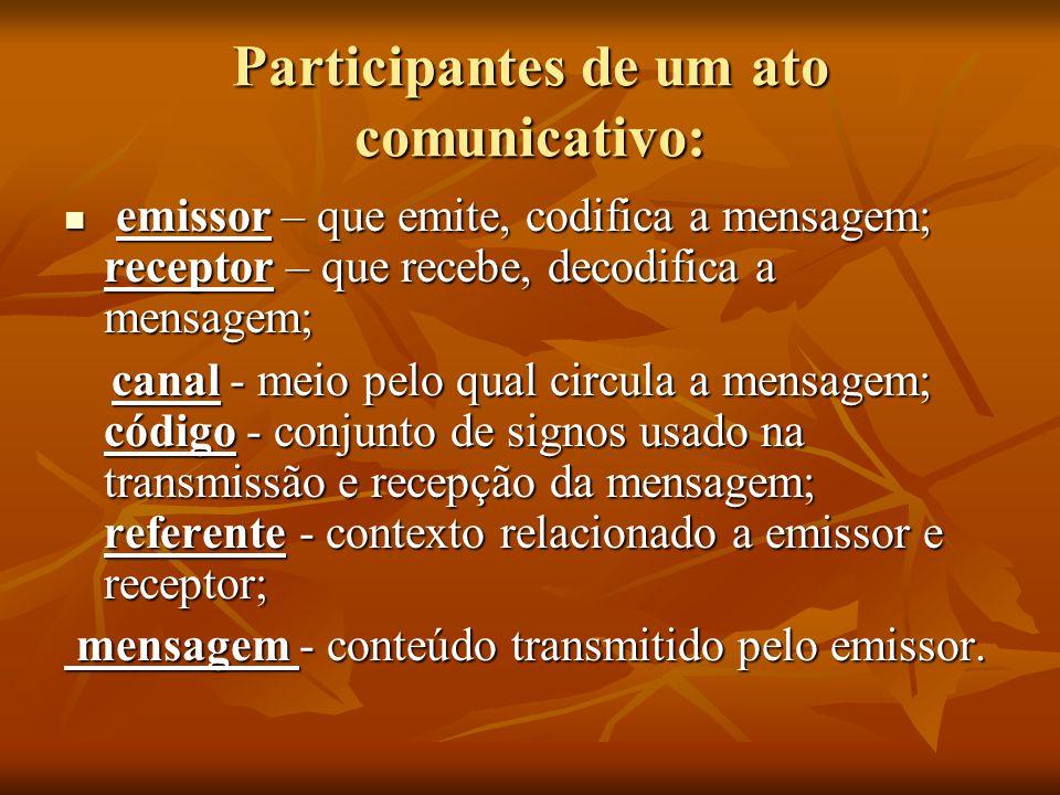 Participantes de um ato comunicativo:
