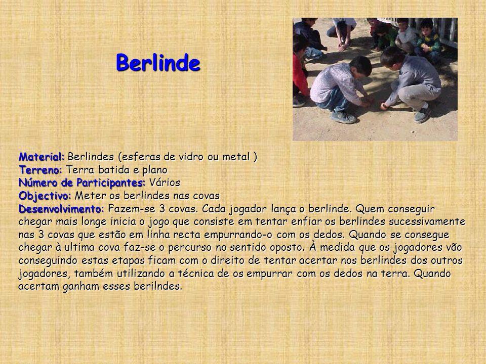 Berlinde Material: Berlindes (esferas de vidro ou metal ) Terreno: Terra batida e plano. Número de Participantes: Vários.