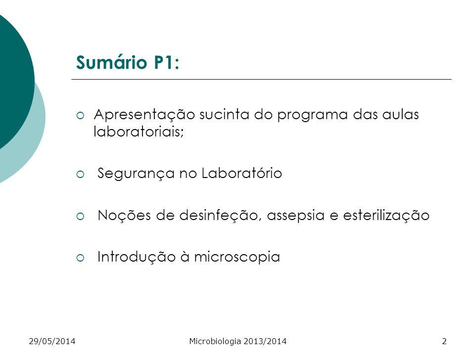 Sumário P1: Apresentação sucinta do programa das aulas laboratoriais;