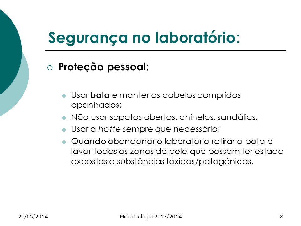 Segurança no laboratório: