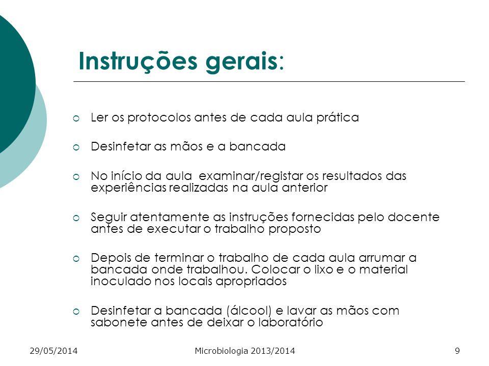 Instruções gerais: Ler os protocolos antes de cada aula prática