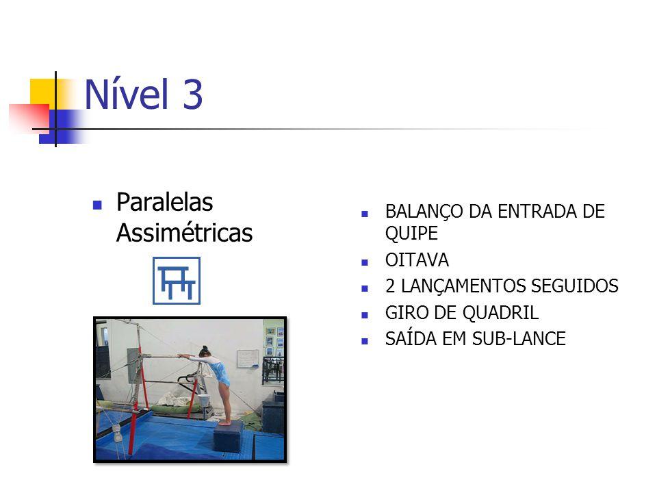 Nível 3 Paralelas Assimétricas Balanço da entrada de quipe Oitava