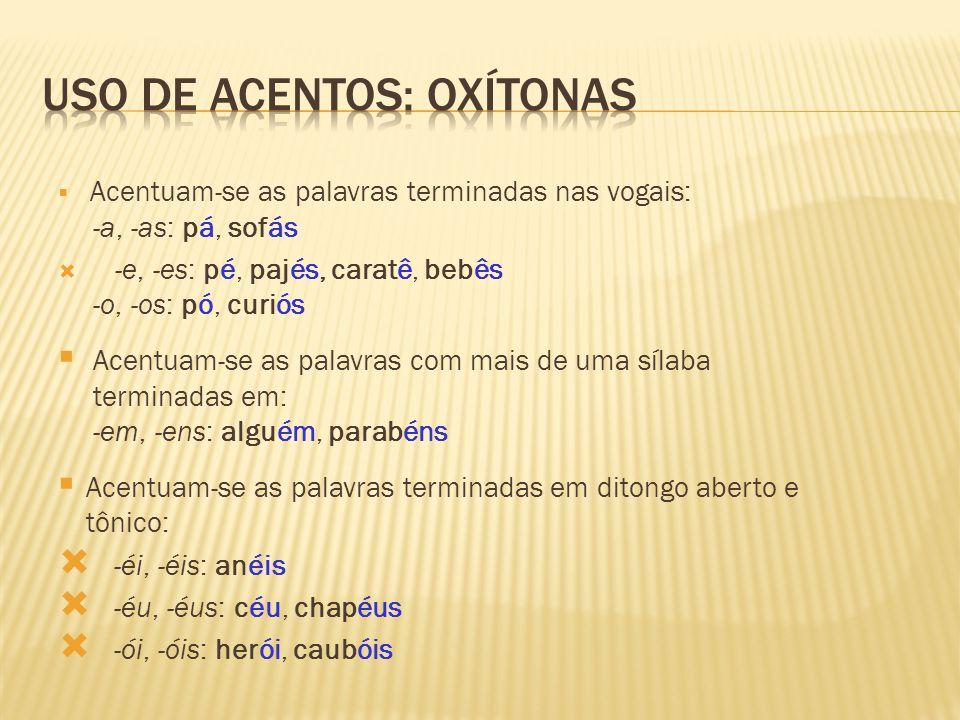 Uso de acentos: oxítonas