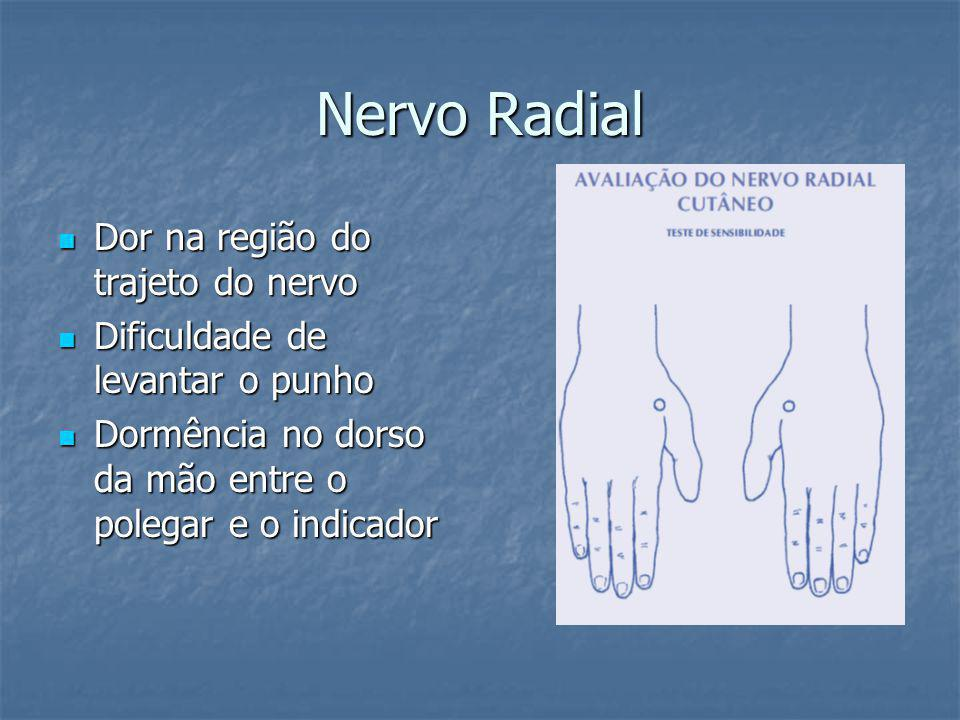 Nervo Radial Dor na região do trajeto do nervo
