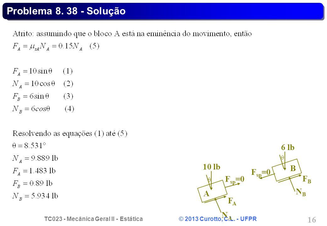 Problema 8. 38 - Solução NA FA Fsp=0 10 lb  A FB NB 6 lb B