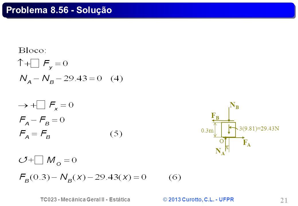 Problema 8.56 - Solução NB FA FB NA 3(9.81)=29.43N 0.3m O x